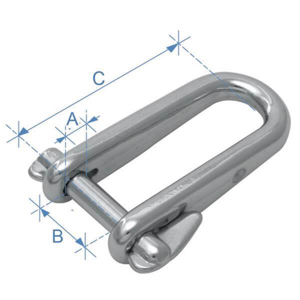 Ναυτικό κλειδί, τύπου D, μακρύ, με πείρο ασφαλείας, - Mpazigos.gr